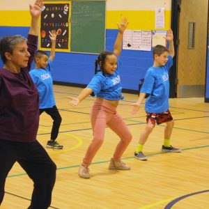 Students at Farmingdale Public School attend dance class with Laura Marchese.